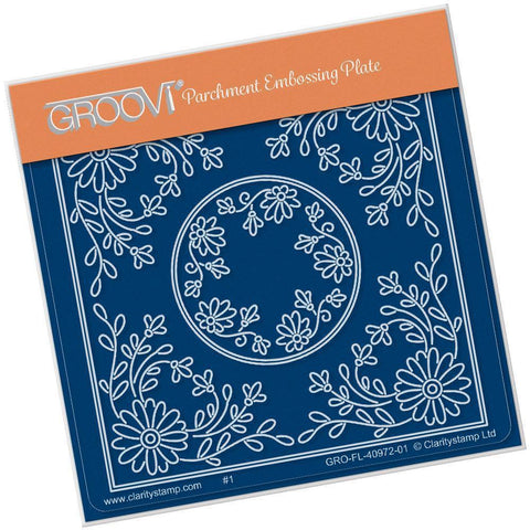 Tina's Daisy Flowers Parchlet <br/>A6 Square Groovi Baby Plate <br/>(Set GRO-FL-41032-01)