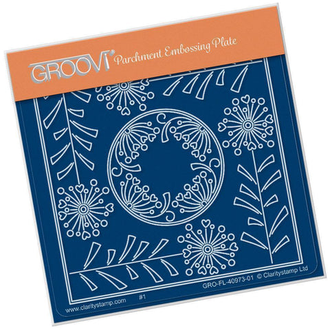Tina's Allium Flowers Parchlet <br/>A6 Square Groovi Baby Plate <br/>(Set GRO-FL-41032-01)