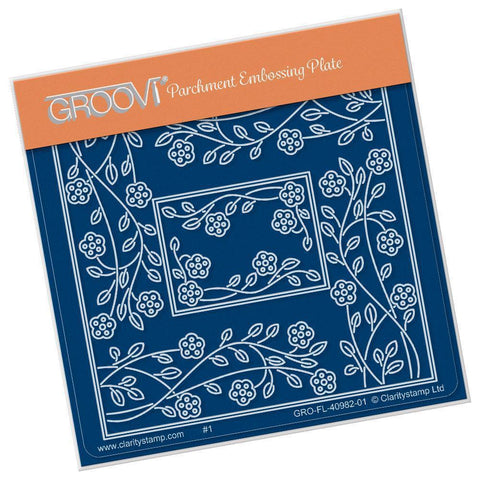 Tina's Rectangle Flowers Parchlet <br/>A6 Square Groovi Baby Plate