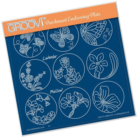 Linda's 123 - E Butterfly, Lavender & Mallow A5 Square Groovi Plate (Set GRO-FL-40998-03)