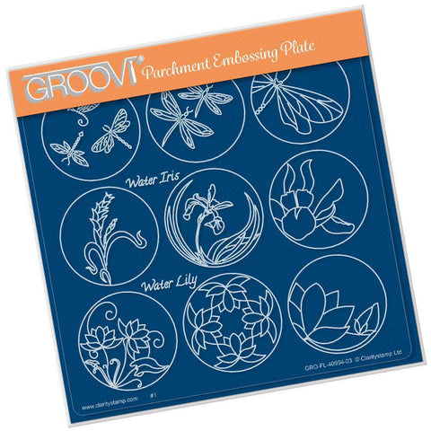 Linda's 123 - F <br/>Dragonfly, Water Iris & Water Lily <br/>A5 Square Groovi Plate <br/>(Set GRO-FL-40998-03)