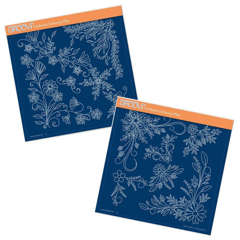 Tina's Floral Swirls & Corners 1 & 2 <br/>A4 Square Groovi Plate Set