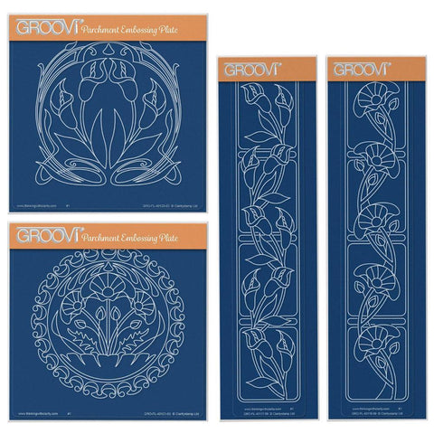 Art Nouveau Lilies & Poppies Collection <br/>A5 Square & Groovi Border Plate Set