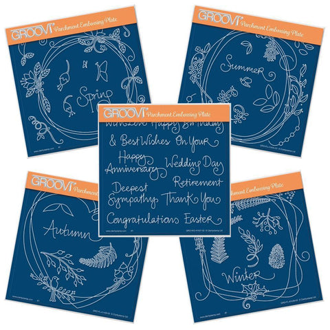 Clarity Stamps Groovi Parchment Embossing A5 Square Autumn Wreath