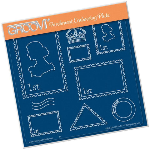 Postage <br/>A5 Square Groovi Plate <br/>(Set GRO-GA-40671-03)