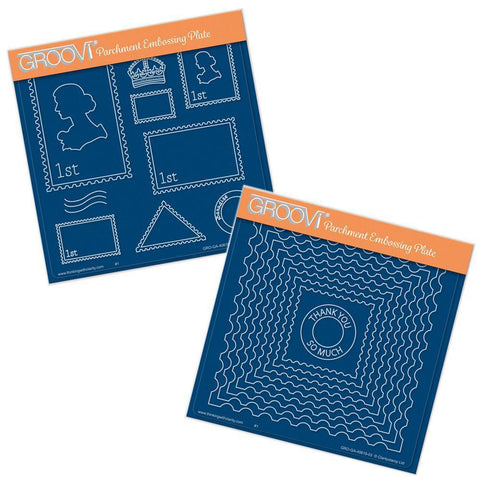 Postage & Nested <br/>A5 Square Groovi Plate Set