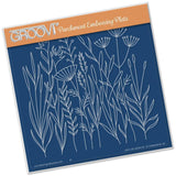 Meadow Grasses <br/>A5 Square Groovi Plate <br/>(Set GRO-FL-40013-03)