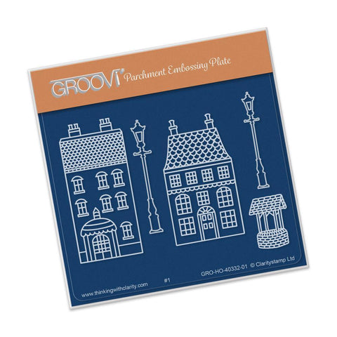 Wee Houses & Lamp Posts <br/> A6 Square Groovi Baby Plate <br/> (Set GRO-HO-40344-01)