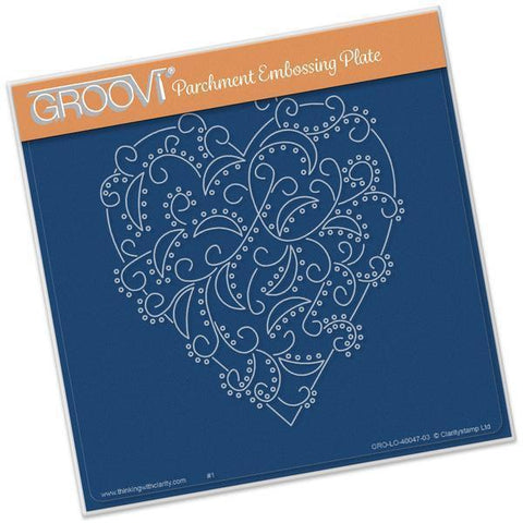 Heart Swirls <br/>A5 Square Groovi Plate <br/>(Set GRO-CH-40057-03)