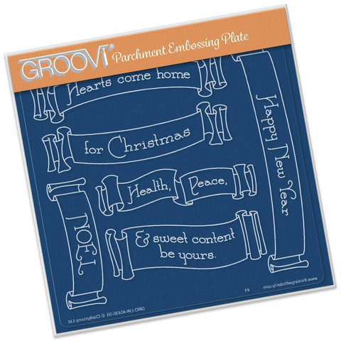 Christmas Banners <br/>A5 Square Groovi Plate <br/>(Set GRO-LW-40439-03)