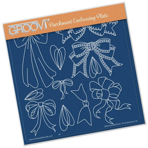 Ribbons & Bows <br/> A5 Square Groovi Plate  <br/> (Set GRO-LW-40439-03)