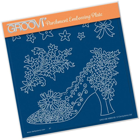 Maria Maidment's Floral Shoe A5 Square Groovi Plate (Set GRO-OB-40966-03)