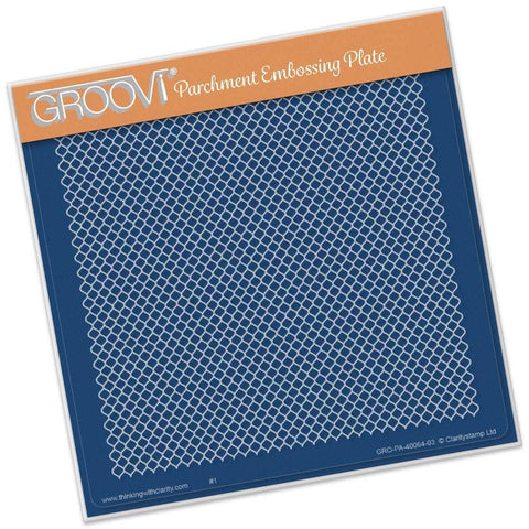 Small Lace Netting <br/> A5 Square Groovi Plate <br/> (Set GRO-FL-40205-03)