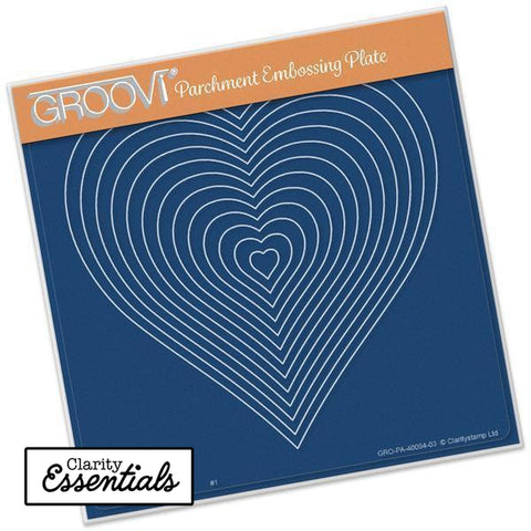 Nested Hearts <br/>A5 Square Groovi Plate <br/>(Set GRO-PE-40100-03)