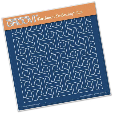 Woven Background <br/>A5 Square Groovi Plate <br/>(Set GRO-FL-40101-03)