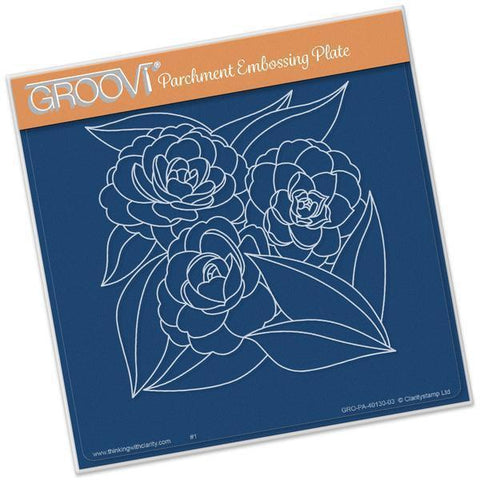 Roses A5 Square Groovi Plate (Set GRO-FL-40139-03)