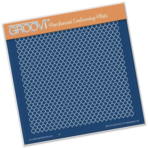 Large Lace Netting <br/> A5 Square Groovi Plate <br/> (Set GRO-TR-40279-03)
