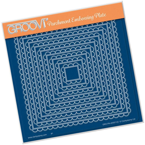 Nested Scallops Square <br>Groovi Plate A5 Square <br/>(Set GRO-PA-40573-03)
