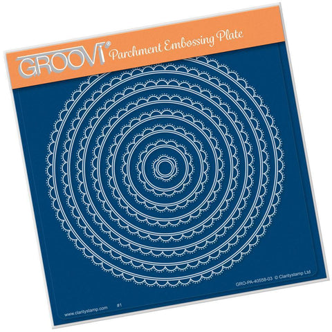 Nested Scallops Circles <br>A5 Square Groovi Plate <br/>(Set GRO-PA-40573-03)