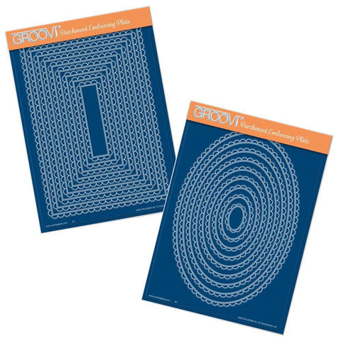Nested Scallops Rectangles & Ovals A5 Groovi Plate Set