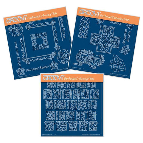 Celtic Corners, Patterns & Alphabet <br/>A5 Square Groovi Plate Set