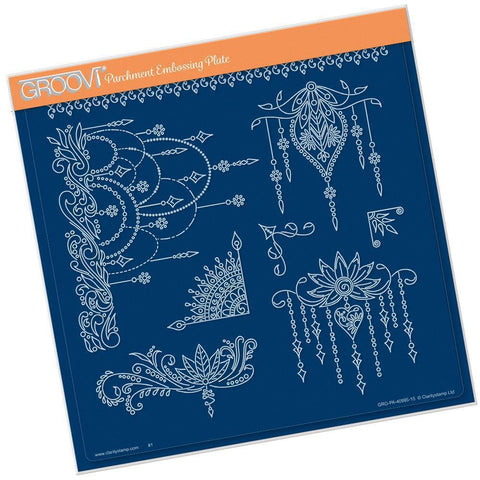 Tina's Henna Droplets <br/>A4 Square Groovi Plate <br/>(Set GRO-PA-41028-15)