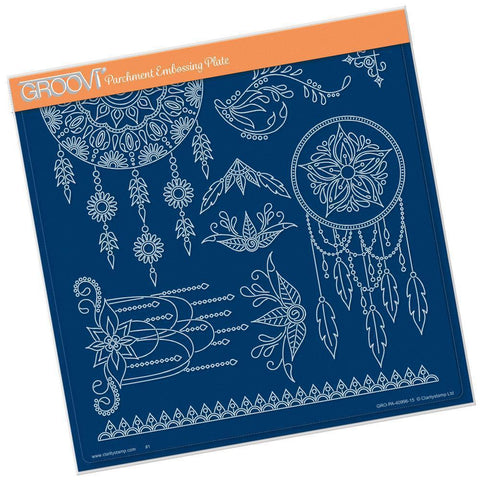 Tina's Henna Dreamcatcher <br/>A4 Square Groovi Plate <br/>(Set GRO-PA-41028-15)
