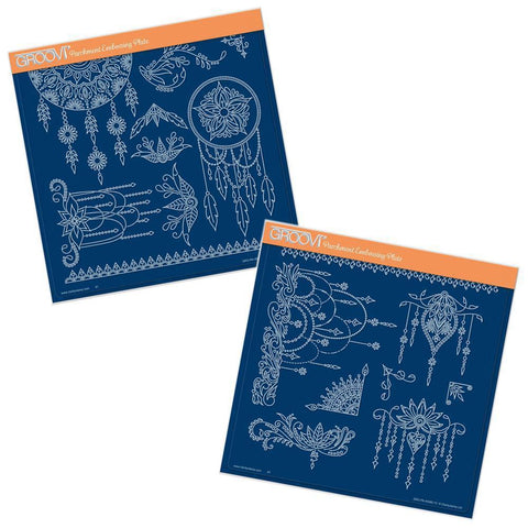 Tina's Henna Dreamcatcher & Droplets <br/>A4 Square Groovi Plate Set