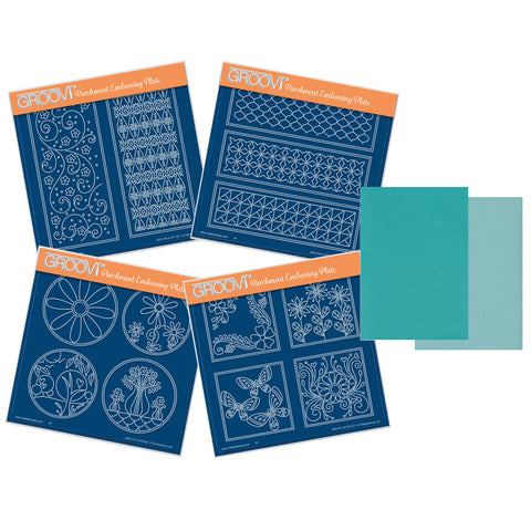 Tina's Layering Panels Collection A5 Square Groovi Plate Set + Teal Two Tone Parchment & Project Leaflet