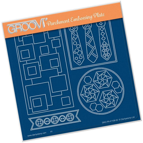 Tina's Funky Ties & Buttons Layering Shapes <br/>A5 Square Groovi Plate