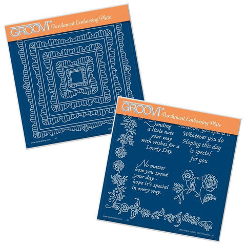 Linda's Square Doily Frames & Special Day Sentiments <br/>A5 Square Groovi Plate Set