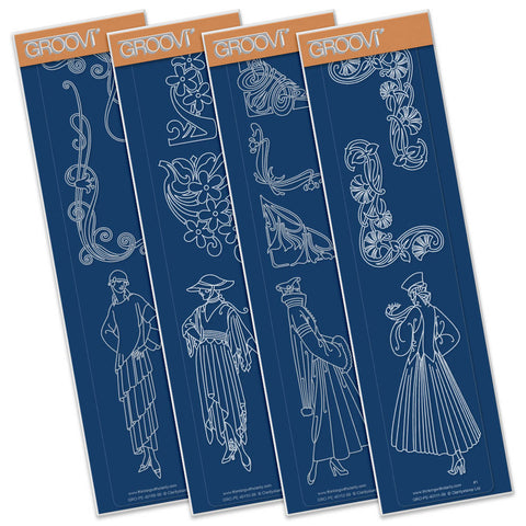 Art Nouveau Collection Groovi® Border Plates A4 (Set of 4)