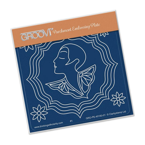 Art Deco Daisy Lady <br/>A6 Square Groovi Baby Plate