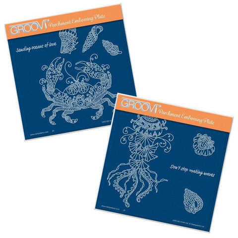 Cherry's Under the Sea - Crab & Jellyfish <br/>A5 Square Groovi Plate Set