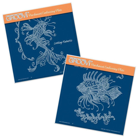 Cherry's Under the Sea - Koi Carp & Lion Fish <br/>A5 Square Groovi Plate Set