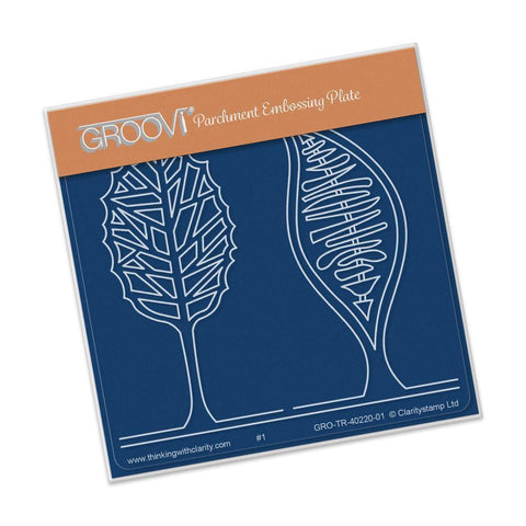 Abstract Two Trees <br/>A6 Square Groovi Baby Plate