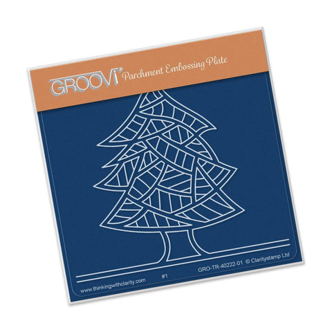 Abstract Pine Tree <br/>A6 Square Groovi Baby Plate <br/>(Set GRO-TR-40336-01)