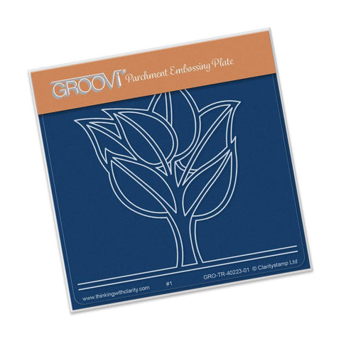 Abstract Leafy Tree <br/>A6 Square Groovi Baby Plate <br/>(Set GRO-TR-40336-01)