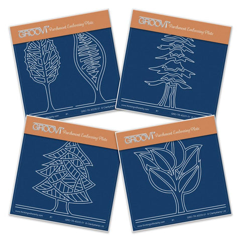 Abstract Trees Set <br/> A6 Square Groovi Plates (Set of 4)