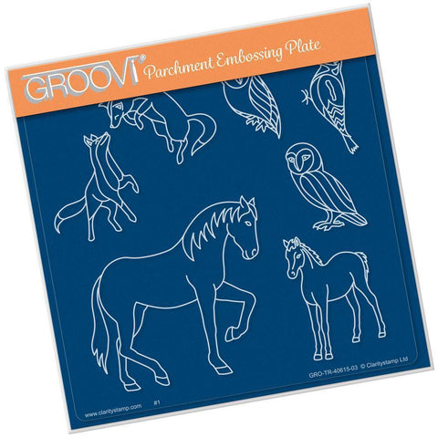 Country Animals <br/>A5 Square Groovi Plate <br/>(Set GRO-CS-40660-03)