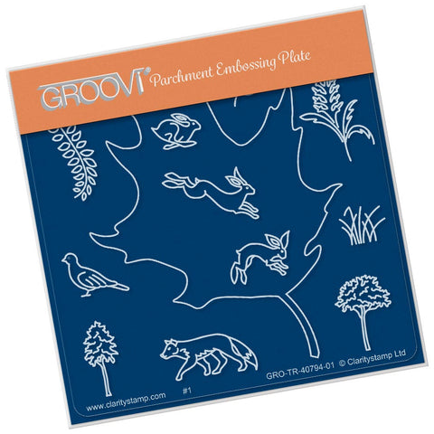 Leaf Outline <br/>A6 Square Groovi Baby Plate <br/>(Set GRO-TR-40822-01)
