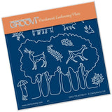 Grove Trees Outline <br/>A6 Square Groovi Baby Plate <br/>(Set GRO-TR-40822-01)