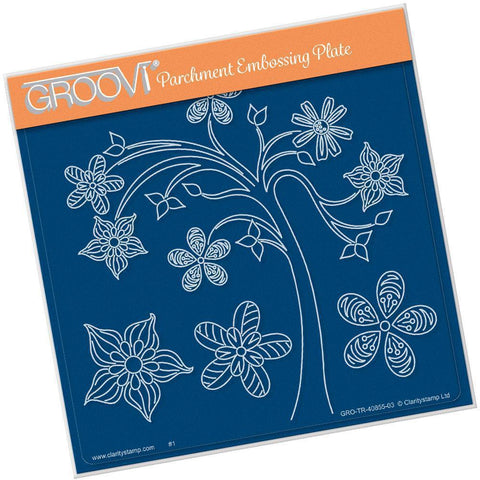 Tina's Tree Fun A5 Square Groovi Plate (Set GRO-FL-41016-03)