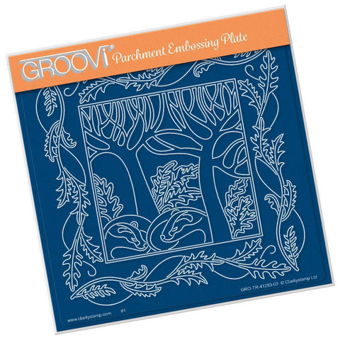 Woodland Badgers & Frame <br/>A5 Square Groovi Plate