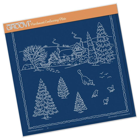 Jayne's Winter Scene - Cat <br/>A4 Square Groovi Plate <br/>(Set GRO-WI-40501-15)