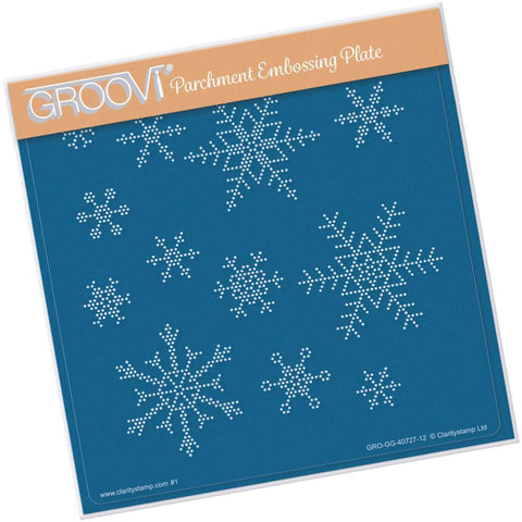 Small Snowflakes <br/>A5 Square Groovi Piercing Grid <br/>(Set GRO-WI-40762-XX)