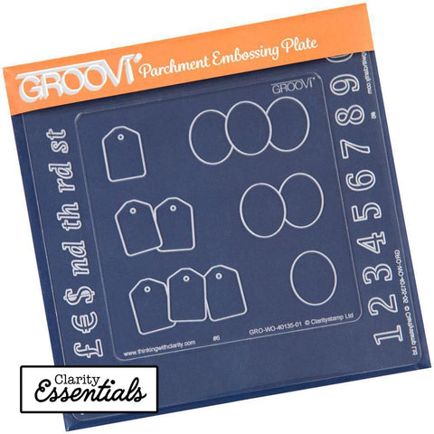 Numbers Groovi Inset + Oval & Tags <br/> A5 & A6 Square Groovi Plate