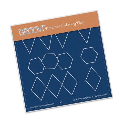 Bunting, Hexagon & Diamond <br/> A6 Square Groovi Baby Plate <br/> (Set GRO-WO-40337-01)