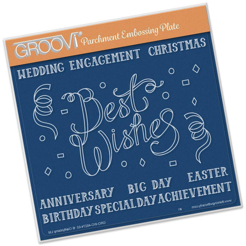 Best Wishes <br/>A5 Square Groovi Plate <br/>(Set GRO-WO-40283-03)