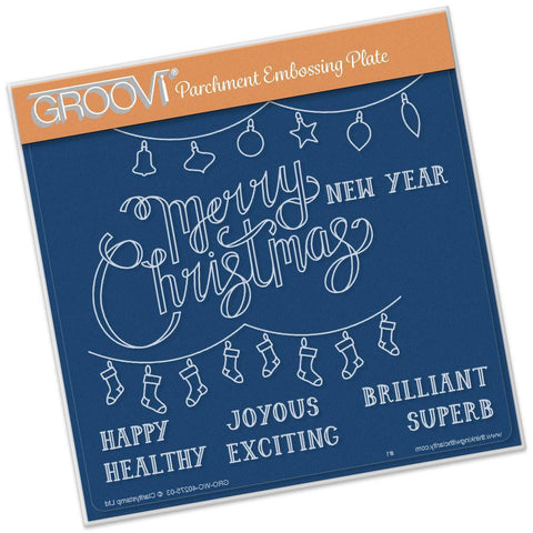 Merry Christmas A5 Square Groovi Plate (Set GRO-WO-40282-03)